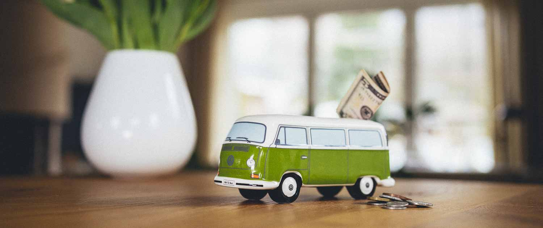 VW Bullli T2 Spardose grün Onlineshop Old Bulli Berlin