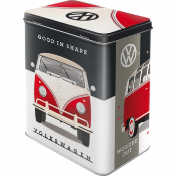 VW T1 Bulli Bus Retro Vorratsdose L Prägedruck Van Bus Volkswagen Kaffeedose Geschenk Idee rot - Good in Shape