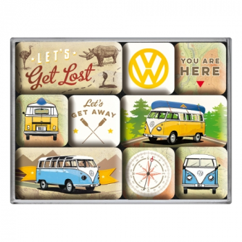 VW T1 Bulli Magnet Set Kühlschrank Bus Van Magnetset Magnettafel Geschenk Büro Ordnung Pinnwand let´s get lost
