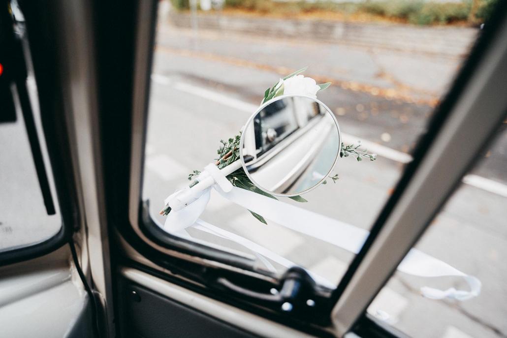 Hochzeit Autospiegel Blumen Fahrzeug Brautauto Wilhelm
