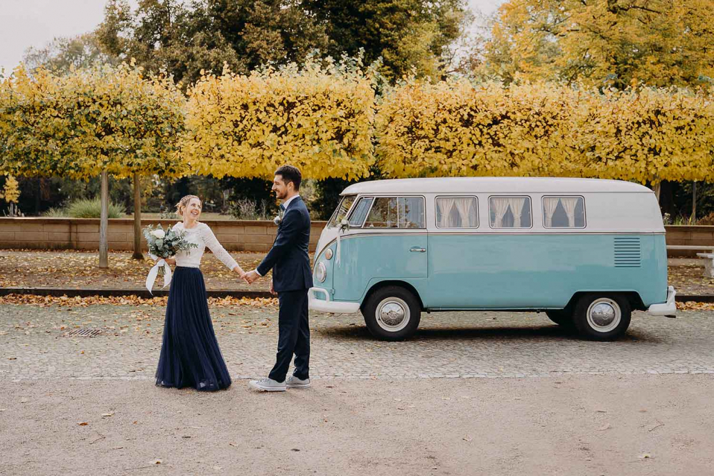 Hochzeitsauto mieten Berlin Bulli Herbst Hochzeit